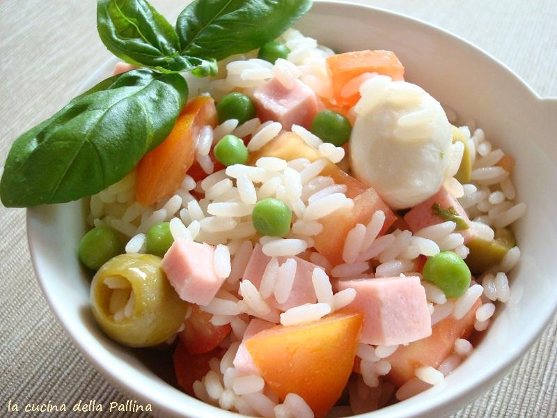 insalata, piatto freddo, prosciutto cotto, pomodori, mozzarella, riso