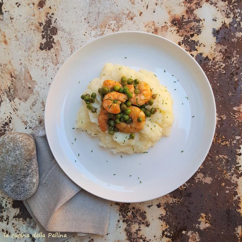 Gamberi alla salsa di soia con piselli